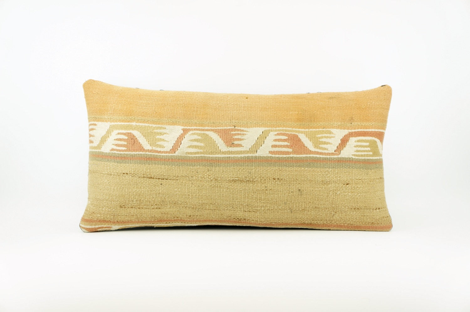 12x24 Geometric kilim pillow sham, Tribal cushion cover, Beige ,Handwoven pillowcase , mid century decor 1634 - kilimpillowstore  - 1
