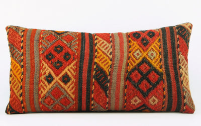 12x24 Geometric kilim pillow sham, Tribal cushion cover, Striped ,Handwoven pillowcase , mid century decor 1638 - kilimpillowstore  - 2