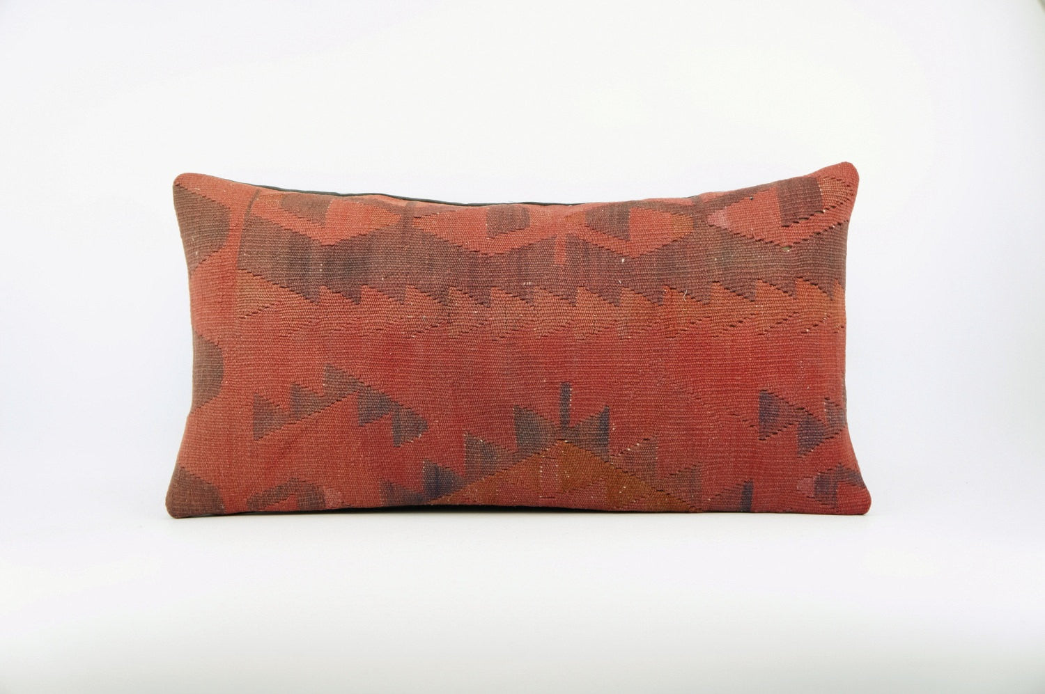 12x24  Geometric chevron kilim pillow sham, Tribal cushion cover, Handwoven pillowcase , mid century decor red 1660
