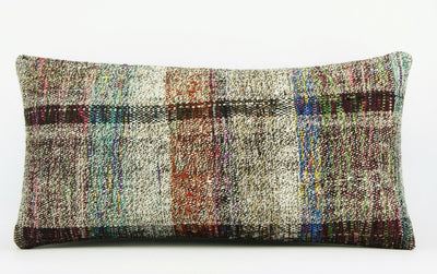 12x24  Hand Woven wool colourfull  multi colour striped decorative outdoor  Kilim Pillow cushion 1665 - kilimpillowstore  - 2