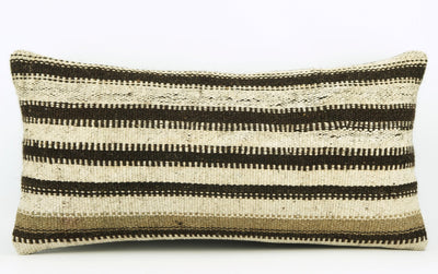 12x24 Hand Woven Wool Tribal Ethnic Beige Brown Striped Soft Colour Kilim Pillow Outdoor cushion 1680 - kilimpillowstore  - 2