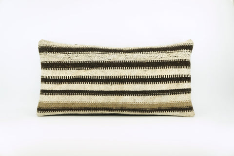 12x24 Hand Woven Wool Tribal Ethnic Beige Brown Striped Soft Colour Kilim Pillow Outdoor cushion 1682 - kilimpillowstore  - 1