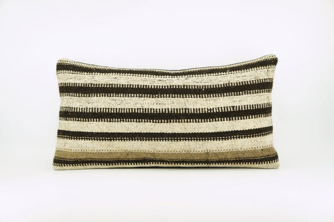 12x24 Hand Woven Wool Tribal Ethnic Beige Brown Striped Soft Colour Kilim Pillow Outdoor cushion 1685 - kilimpillowstore  - 1