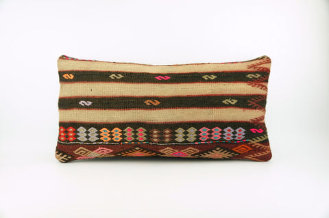 12x24 Ethnic decorative pillow cover , Striped ,Bohemian pillow case, Modern home decor Geometric Multi colour handwoven pillow ,1713 - kilimpillowstore  - 1