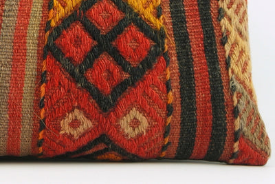 12x24 Geometric kilim pillow sham, Tribal cushion cover, Striped ,Handwoven pillowcase , mid century decor 1638 - kilimpillowstore  - 4