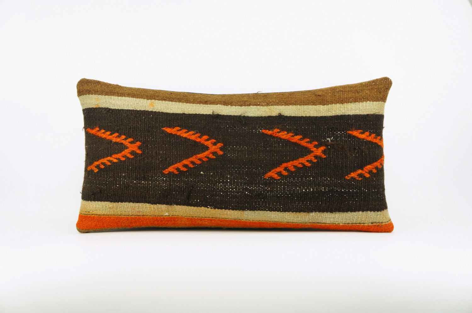 12x24 Ethnic decorative pillow cover , Bohemian pillow case, Modern home decor Geometric Multi colour handwoven pillow ,1641 - kilimpillowstore  - 1