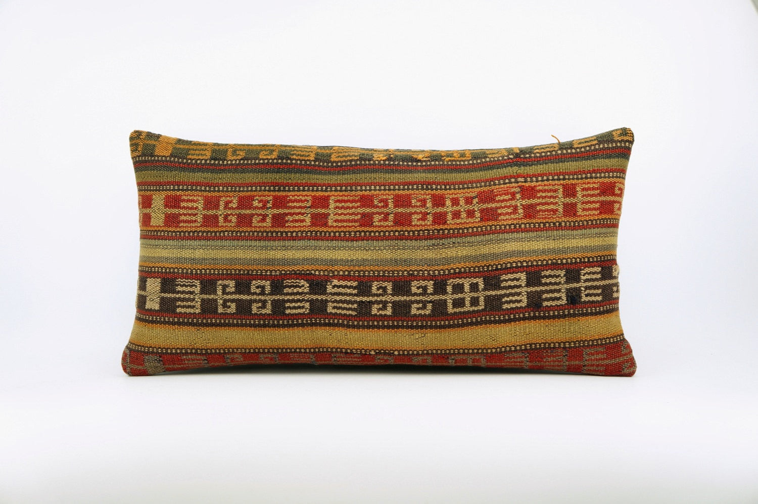 12x24 Ethnic decorative pillow cover , Bohemian pillow case, Modern home decor Geometric Multi colour handwoven pillow ,1647 - kilimpillowstore  - 1
