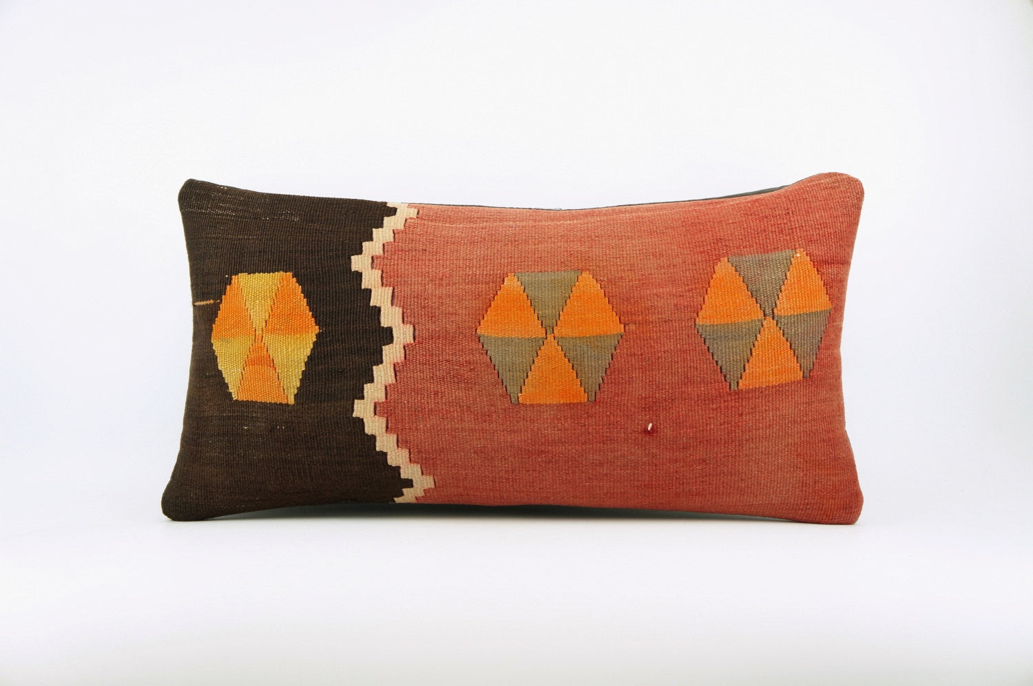 12x24 Ethnic decorative pillow cover , Bohemian pillow case, Modern home decor Geometric Multi colour handwoven pillow ,1655 - kilimpillowstore  - 1