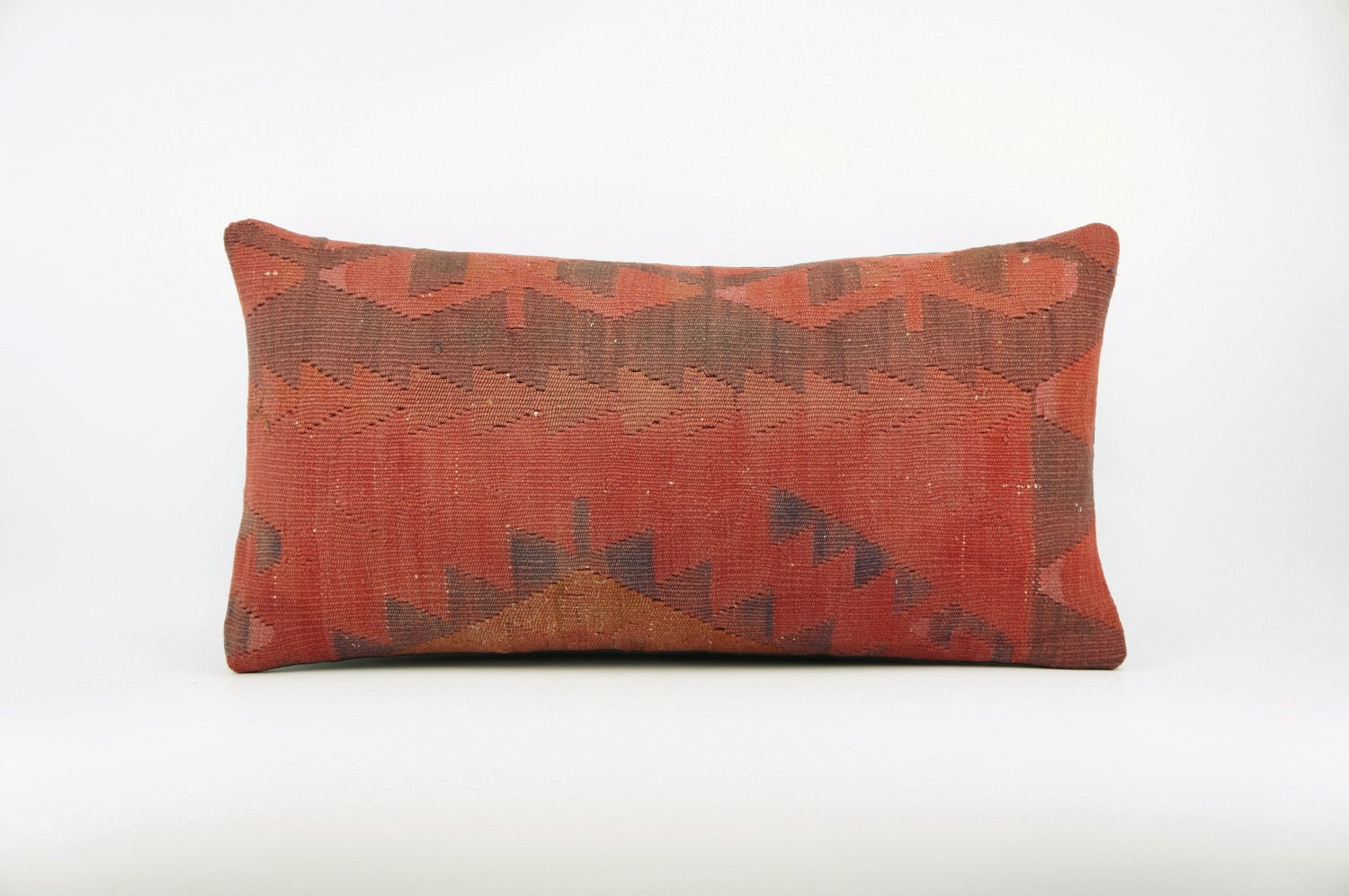 12x24  Geometric chevron kilim pillow sham, Tribal cushion cover, Handwoven pillowcase , mid century decor red 1661