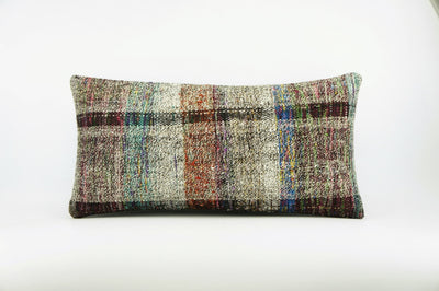 12x24  Hand Woven wool colourfull  multi colour striped decorative outdoor  Kilim Pillow cushion 1665 - kilimpillowstore  - 1