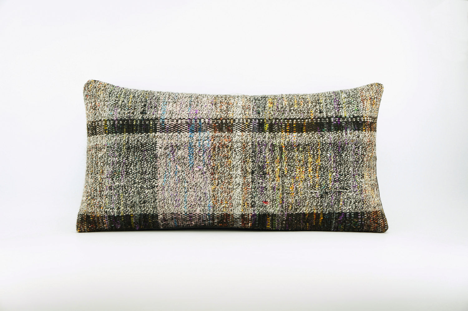 12x24  Hand Woven wool colourfull  multi colour striped decorative outdoor  Kilim Pillow cushion 1667 - kilimpillowstore  - 1