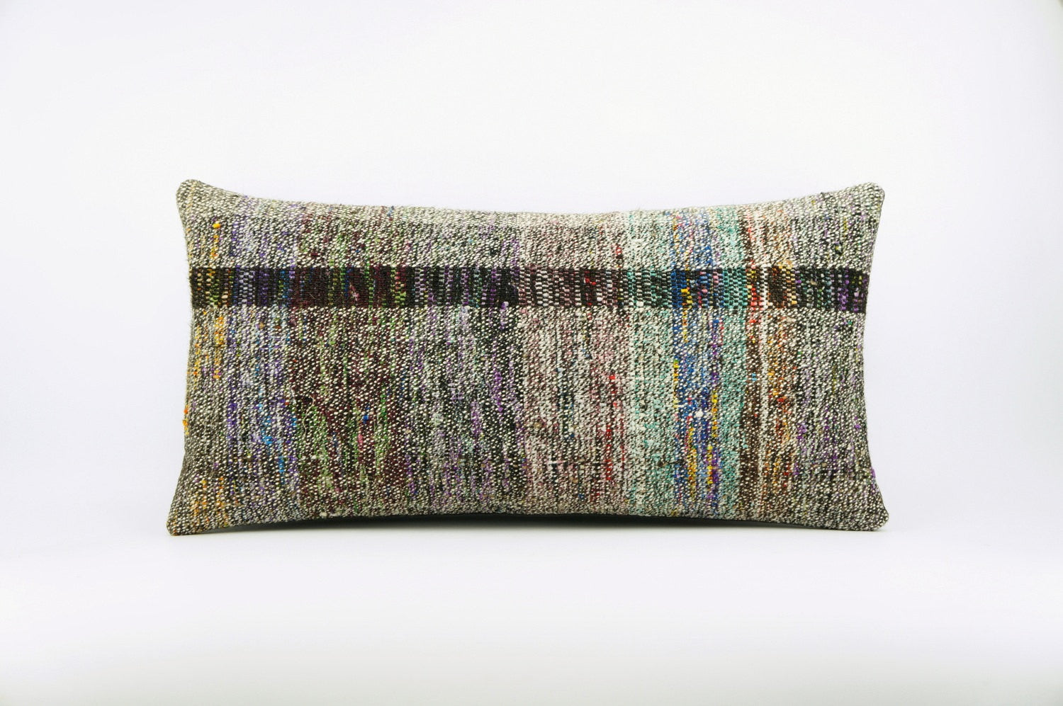 12x24  Hand Woven wool colourfull  multi colour striped decorative outdoor  Kilim Pillow cushion 1671 - kilimpillowstore  - 1