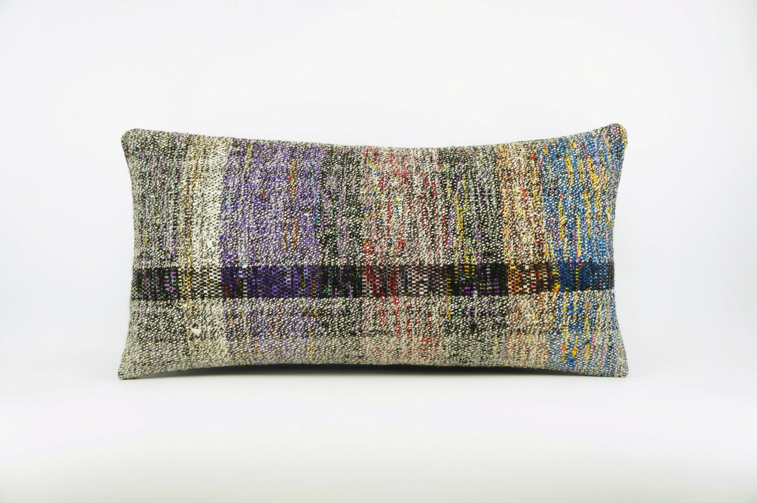 12x24  Hand Woven wool colourfull  multi colour striped decorative outdoor  Kilim Pillow cushion 1672 - kilimpillowstore  - 1