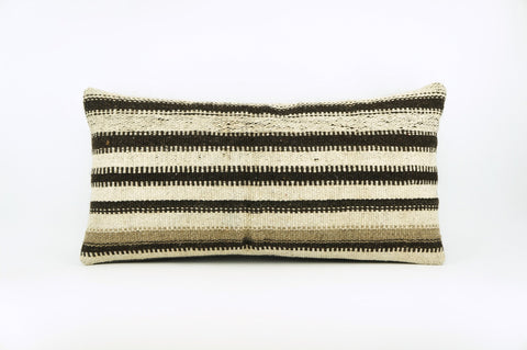 12x24 Hand Woven Wool Tribal Ethnic Beige Brown Striped Soft Colour Kilim Pillow Outdoor cushion 1679 - kilimpillowstore  - 1
