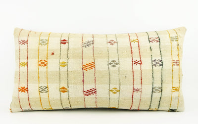 12x24 Ethnic decorative pillow cover , Striped ,Bohemian pillow case, Modern home decor Geometric Multi colour handwoven pillow ,1706 - kilimpillowstore  - 2
