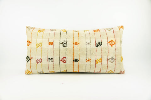 12x24 Ethnic decorative pillow cover , Striped ,Bohemian pillow case, Modern home decor Geometric Multi colour handwoven pillow ,1708 - kilimpillowstore  - 1