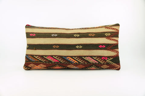 12x24 Ethnic decorative pillow cover , Striped ,Bohemian pillow case, Modern home decor Geometric Multi colour handwoven pillow ,1711 - kilimpillowstore  - 1