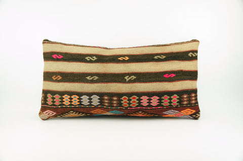 12x24 Ethnic decorative pillow cover , Striped ,Bohemian pillow case, Modern home decor Geometric Multi colour handwoven pillow ,1714 - kilimpillowstore  - 1