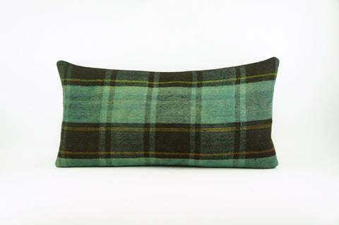 CLEARANCE 12x24 Green Black Striped Kilim pillow cover, bohemian kilim pillow, Throw pillow , 1744 - kilimpillowstore  - 1