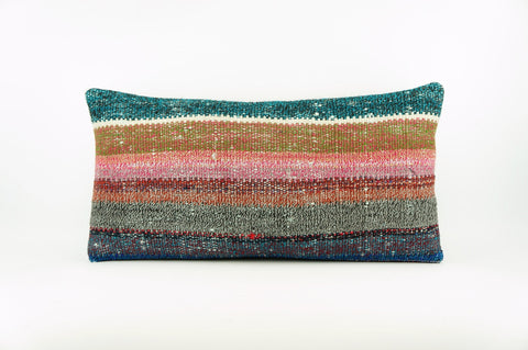 CLEARANCE 12x24 Multi Colour Striped Kilim pillow cover, bohemian kilim pillow, Throw pillow , 1734 - kilimpillowstore  - 1