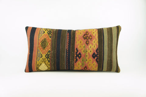 12x24 Ethnic decorative pillow cover , Striped ,Bohemian pillow case, Modern home decor Geometric Multi colour handwoven pillow ,1756 - kilimpillowstore  - 1