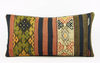 12x24 Ethnic decorative pillow cover , Striped ,Bohemian pillow case, Modern home decor Geometric Multi colour handwoven pillow ,1757 - kilimpillowstore  - 2
