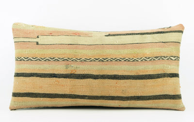 CLEARANCE  12x24  Striped pillow cover , Decorative kilim pillow,   kilim pillow   beige pink 1776 - kilimpillowstore  - 2