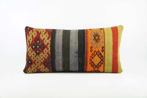 12x24 Striped Ethnic decorative pillow cover ,multi colour ,Bohemian pillow case, Modern home decor Geometric  handwoven pillow ,1787 - kilimpillowstore  - 1