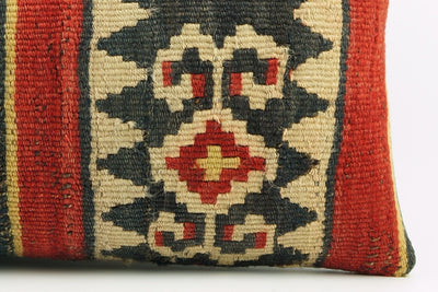 12x24 Ethnic decorative pillow cover ,red black beige ,Bohemian pillow case, Modern home decor Striped  handwoven pillow ,1802 - kilimpillowstore  - 4