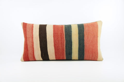 12x24 Striped Ethnic decorative pillow cover, red, black beige, Bohemian pillow case, Modern home decor  geometric handwoven pillow ,1822 - kilimpillowstore  - 1