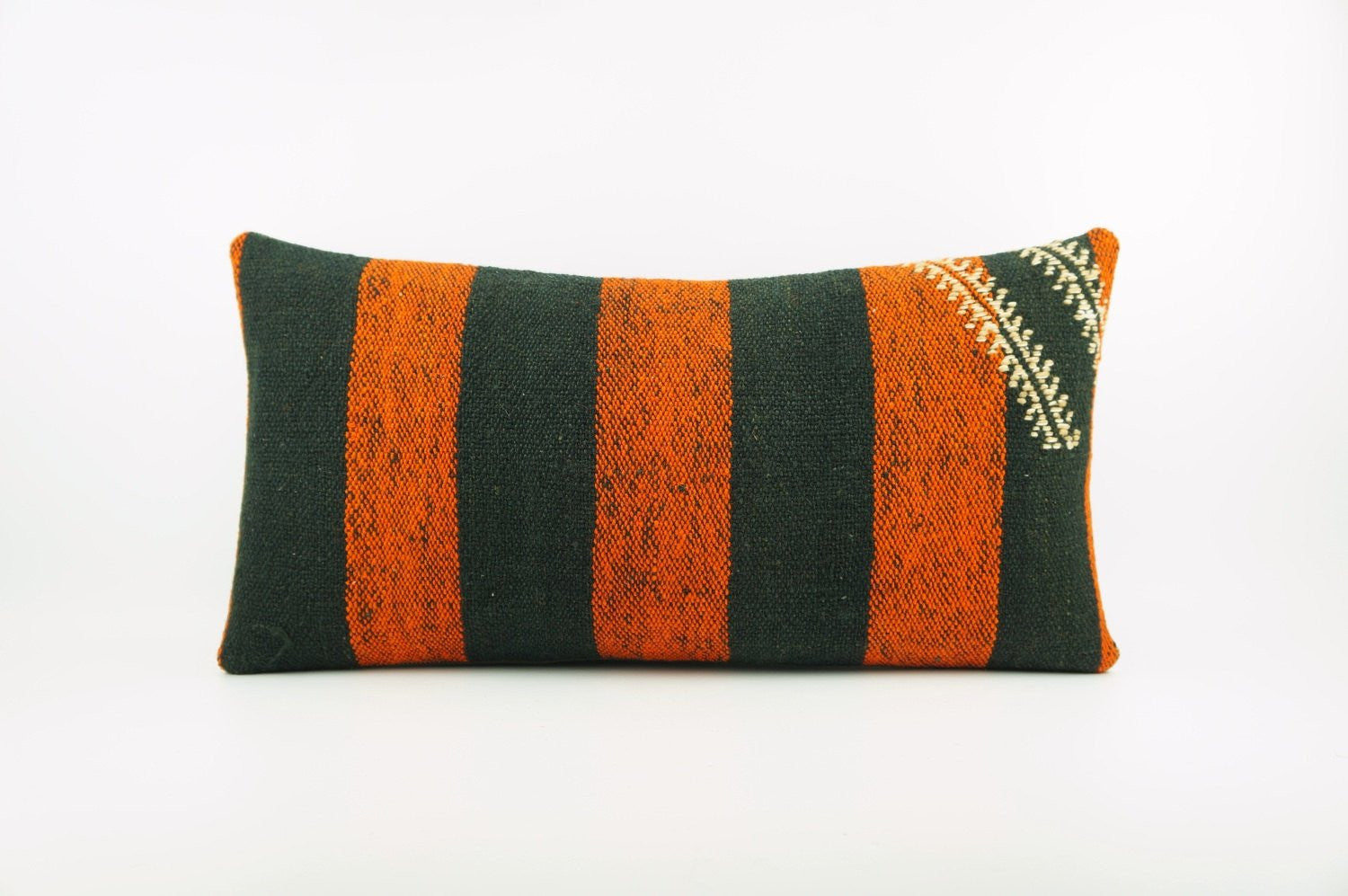 12x24 Ethnic decorative pillow cover , Bohemian pillow case, Modern home decor Striped Orange Black handwoven pillow ,1865 - kilimpillowstore  - 1