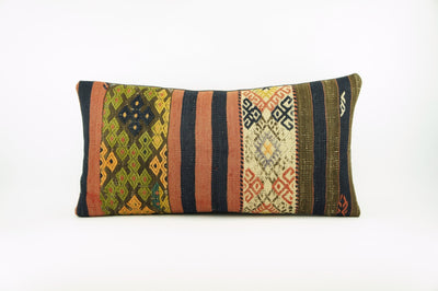 12x24 Ethnic decorative pillow cover , Striped ,Bohemian pillow case, Modern home decor Geometric Multi colour handwoven pillow ,1757 - kilimpillowstore  - 1