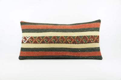 CLEARANCE  12x24  Striped pillow cover , Decorative kilim pillow,  kilim pillow red black beige 1771 - kilimpillowstore  - 1