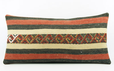 CLEARANCE  12x24  Striped pillow cover , Decorative kilim pillow,  kilim pillow red black beige 1771 - kilimpillowstore  - 2