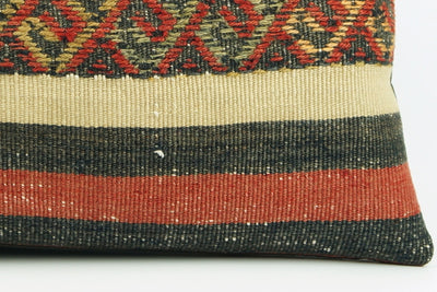 CLEARANCE  12x24  Striped pillow cover , Decorative kilim pillow,  kilim pillow red black beige 1771 - kilimpillowstore  - 4