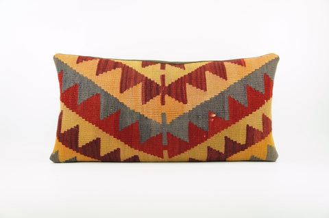 12x24 Ethnic decorative pillow cover , chevron ,Bohemian pillow case, Modern home decor Geometric red yellow handwoven pillow ,1780 - kilimpillowstore  - 1