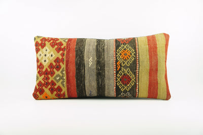 12x24 Striped Ethnic decorative pillow cover ,multi colour ,Bohemian pillow case, Modern home decor Geometric  handwoven pillow ,1791 - kilimpillowstore  - 1