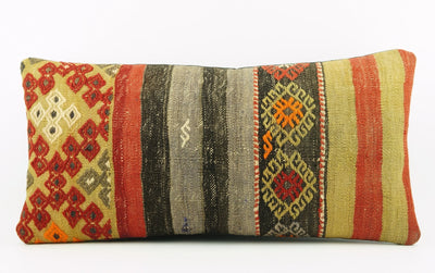 12x24 Striped Ethnic decorative pillow cover ,multi colour ,Bohemian pillow case, Modern home decor Geometric  handwoven pillow ,1791 - kilimpillowstore  - 2