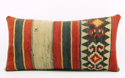 12x24 Ethnic decorative pillow cover ,red black beige ,Bohemian pillow case, Modern home decor Striped  handwoven pillow ,1802 - kilimpillowstore  - 2
