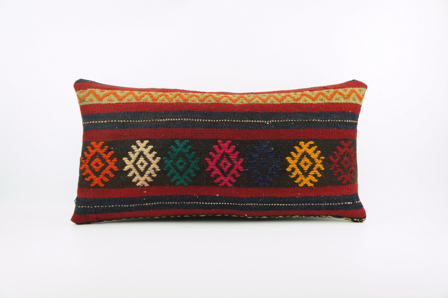 12x24  Ethnic decorative pillow cover, multi color, Bohemian pillow case, Modern home decor  geometric handwoven pillow ,1823