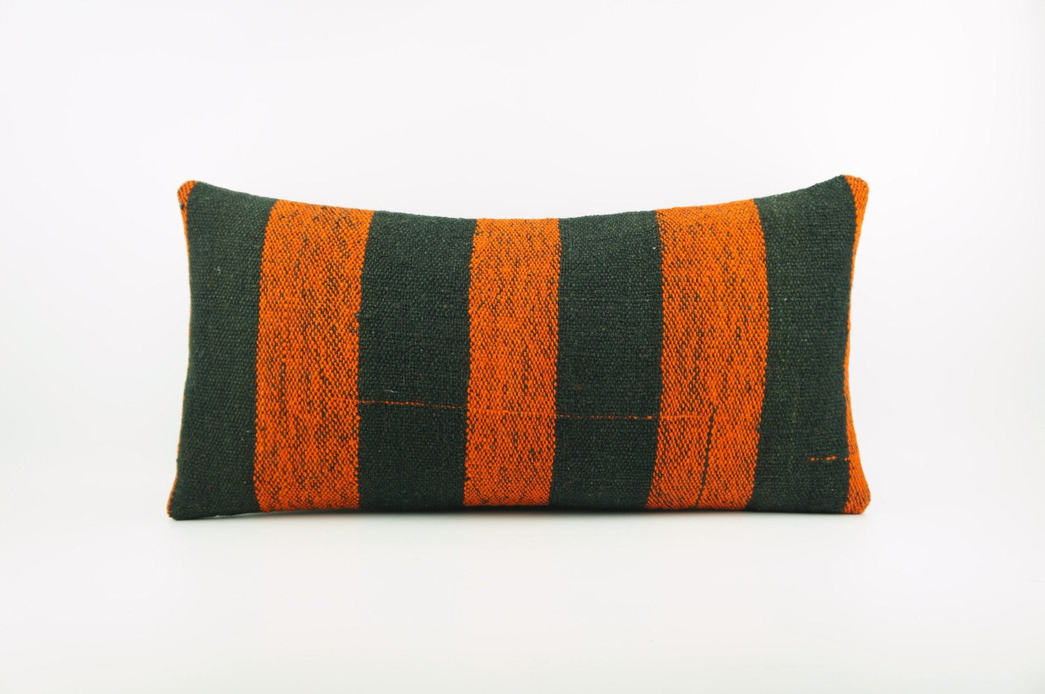 12x24 Ethnic decorative pillow cover , Bohemian pillow case, Modern home decor Striped Orange Black handwoven pillow ,1864 - kilimpillowstore  - 1