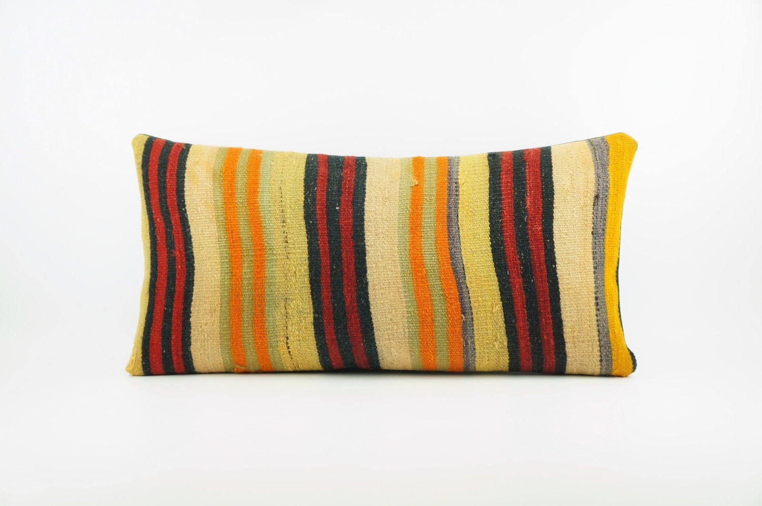 12x24 Ethnic decorative pillow cover , Bohemian pillow case, Modern home decor Striped Multi colour handwoven pillow ,1869 - kilimpillowstore  - 1