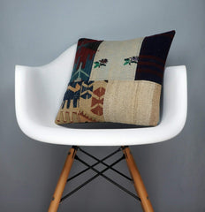 Patchwork Kilim  pillow case 16,  throw  cushion, ethnic decor,  Mediterranean  decor,  2447 - kilimpillowstore  - 1