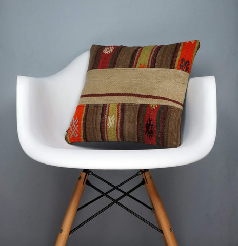 Patchwork  Kilim  pillow cover Beige brown orange yellow    2408 - kilimpillowstore  - 1