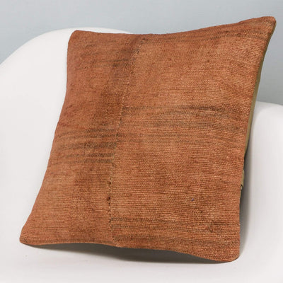 Plain Brown Kilim Pillow Cover 16x16 2913 - kilimpillowstore