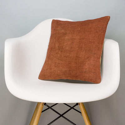 Plain Brown Kilim Pillow Cover 16x16 2934 - kilimpillowstore