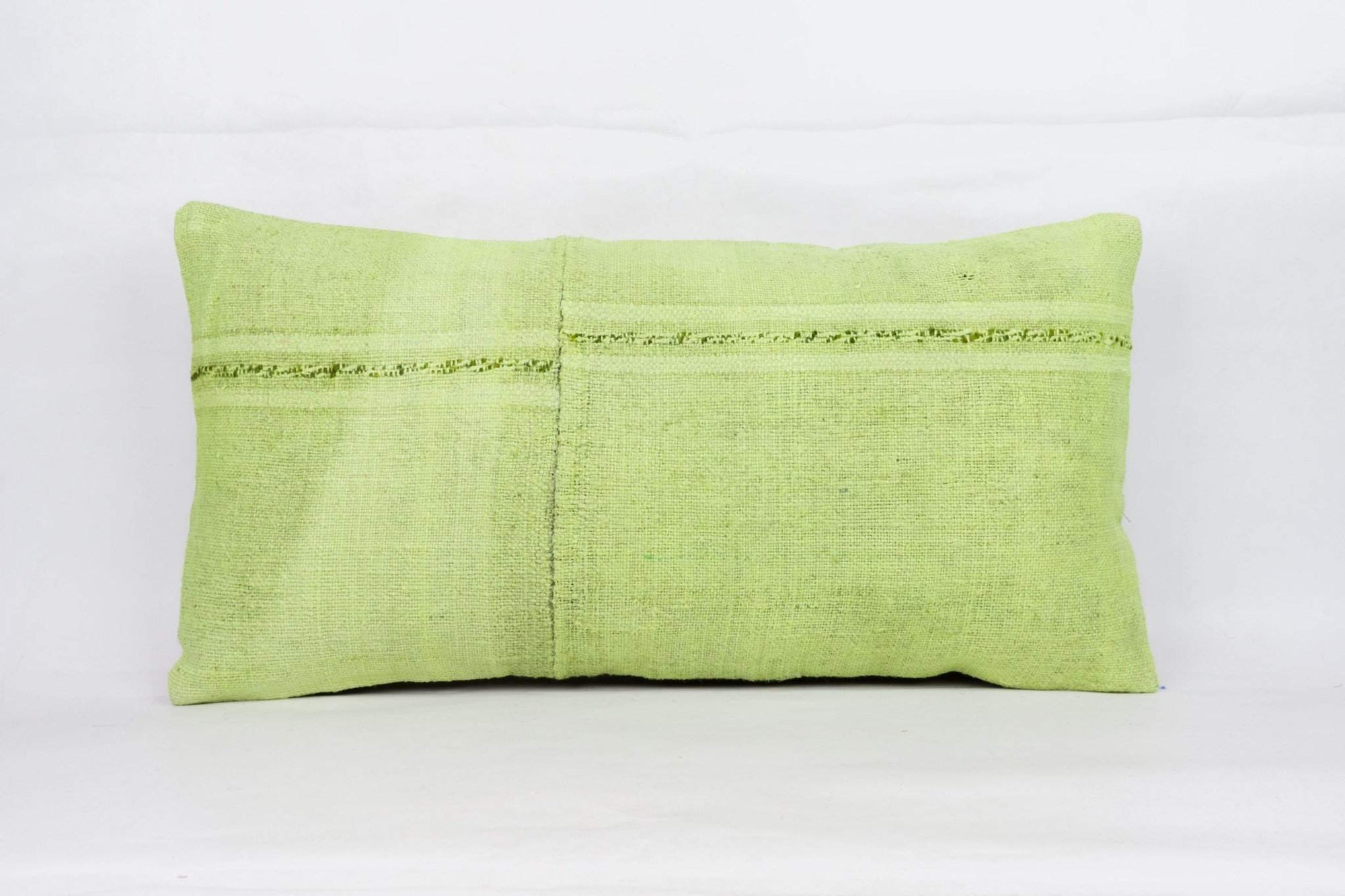 Plain Green Kilim Pillow Cover 12x24 4129 - kilimpillowstore  - 1