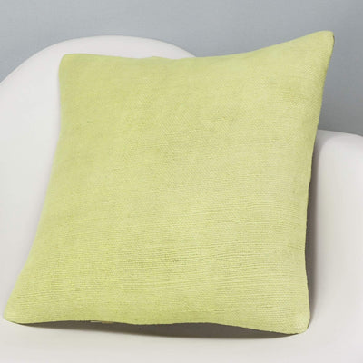 Plain Green Kilim Pillow Cover 16x16 2968 - kilimpillowstore