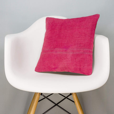 Plain Pink Kilim Pillow Cover 16x16 3008 - kilimpillowstore