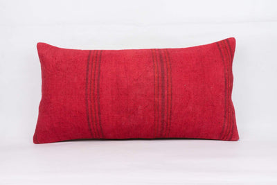 Plain Red Kilim Pillow Cover 12x24 4105 - kilimpillowstore  - 1